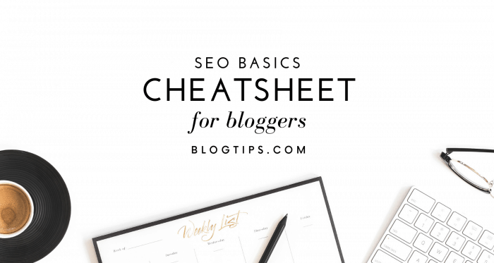 SEO Basics Seo cheatsheet SEO tips for bloggers beginner SEO guide free SEO training BlogTips.com